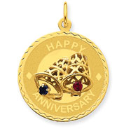 14K Gold Happy Anniversary With  Bells Charm
