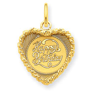 14K Gold Happy Birthday Heart Disc Charm