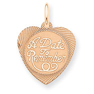 14K Rose Gold Date To Remember Heart Disc Charm