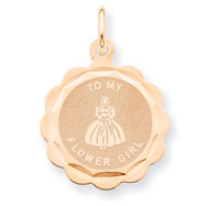 14K Rose Gold Flower Girl Disc Charm