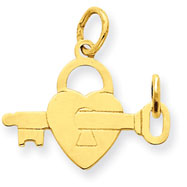 14K Polished Heart Lock With Key Inside Charm