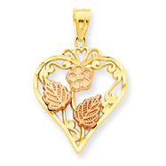 14K Tri-Color Heart With Flower Pendant