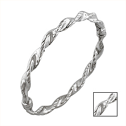 Sterling Silver Ribbed Twist Bangle