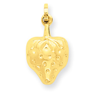 14K Gold Puffed Strawberry Charm