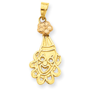14K Two-Tone Gold Clown Head Charm