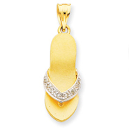 14K Gold And Rhodium Diamond Sandal Pendant