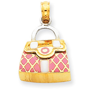 14K Two-Tone Gold Pink Enameled Purse Pendant