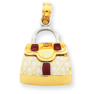 14K Two-Tone Gold Red & White Enameled Purse Pendant