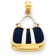14K Two-Tone Gold Blue Enameled Purse Pendant