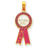 14K Gold Pink Enameled Birthday Girl Ribbon Pendant