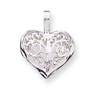 Sterling Silver Filigree Heart Charm