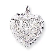 Sterling Silver Diamond-Cut Heart Charm