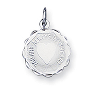 Sterling Silver Your Always In My Heart Disc Charm