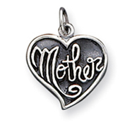 Sterling Silver Antique Mother Heart Charm