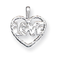 Sterling Silver Diamond Cut Love Heart Pendant