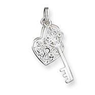 Sterling Silver Heart & Key Charm
