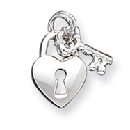 Sterling Silver Heart & Key Charm