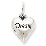 Sterling Silver Antiqued Dream Heart Pendant