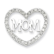 Sterling Silver CZ Mom Heart Slide