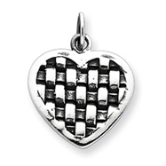 Sterling Silver Antiqued Heart Charm
