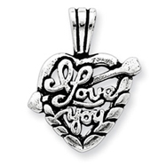 Sterling Silver Antiqued I Love You Heart