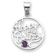 Sterling Silver Amethyst Happy Birthday Pendant