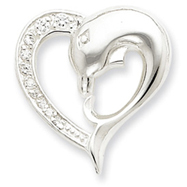 Sterling Silver CZ Dolphin Heart Slide