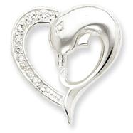Sterling Silver CZ Dolphin Heart Slide