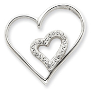 Sterling Silver With Swarovski Crystal Double Heart Charm