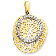 Sterling Silver Vermeil Round CZ Pendant