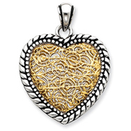 Sterling Silver Antiqued Vermeil Heart Pendant