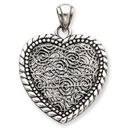 Sterling Silver Antiqued Swirl Heart Pendant