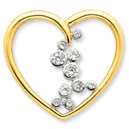 Sterling Silver CZ & Vermeil Heart Slide
