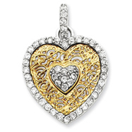 Sterling Silver CZ & Vermeil Heart Pendant