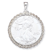 Sterling Silver Rope Coin Bezel Pendant