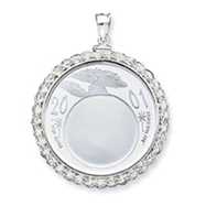 Sterling Silver  Silver Town Rope Coin Bezel Pendant