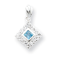 Sterling Silver Blue Topaz & CZ Pendant