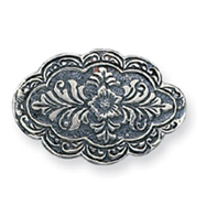 Sterling Silver Antiqued Scalloped Oval Pin