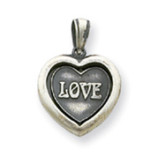 Sterling Silver Antiqued Heart Pendant
