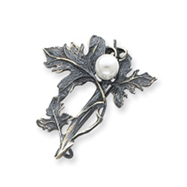 Sterling Silver Antiqued Branch & Leaves With Cultured Pearl Pin