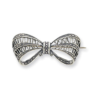 Sterling Silver Antiqued Open Design Bow Pin