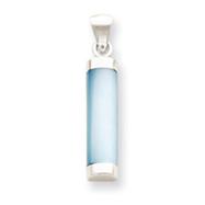 Sterling Silver Blue Mother Of Pearl Cylinder Pendant