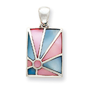 Sterling Silver Pink and Blue Mother Of Pearl Sunburst Design Pendant