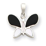 Sterling Silver Black And White Stone Butterfly Pendant