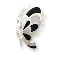 Sterling Silver Black And White Shell Butterfly Pendant