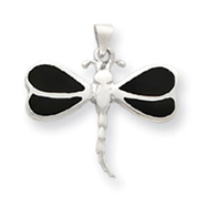 Sterling Silver Black Shell Dragonfly Pendant