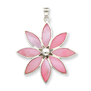 Sterling Silver Pink Stone Flower Pendant