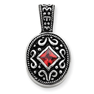 Sterling Silver Red CZ Antiqued Oval Pendant