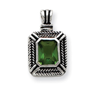 Sterling Silver Green CZ Square Pendant