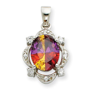 Sterling Silver Rainbow And Clear CZ Pendant Slide